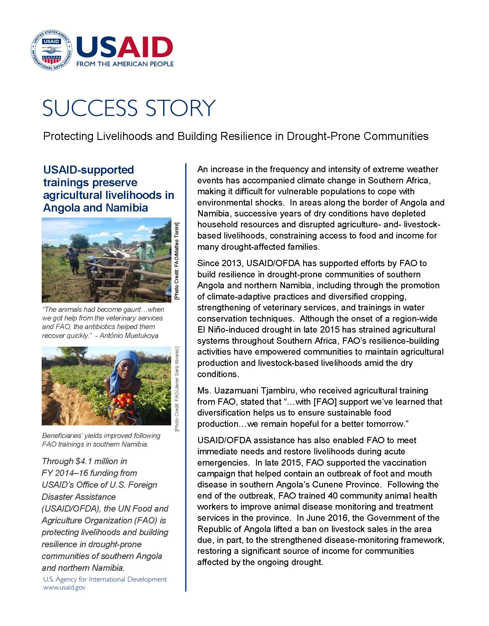 Protecting Livelihoods and Building Resilience in Drought-Prone Communities