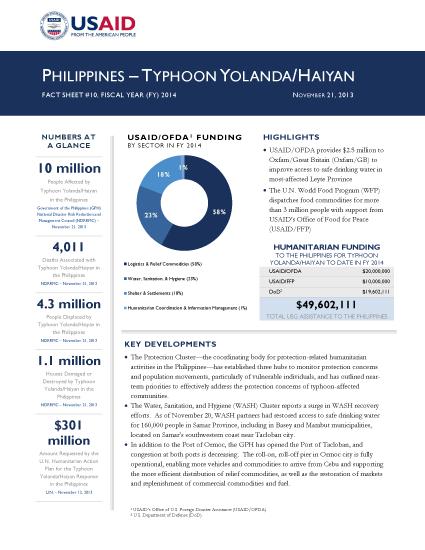 Typhoon Haiyan / Yolanda Fact Sheet #10 - 11/21/2013 (Click to view PDF)