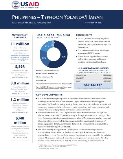Typhoon Haiyan / Yolanda Fact Sheet #14 - 11/29/2013