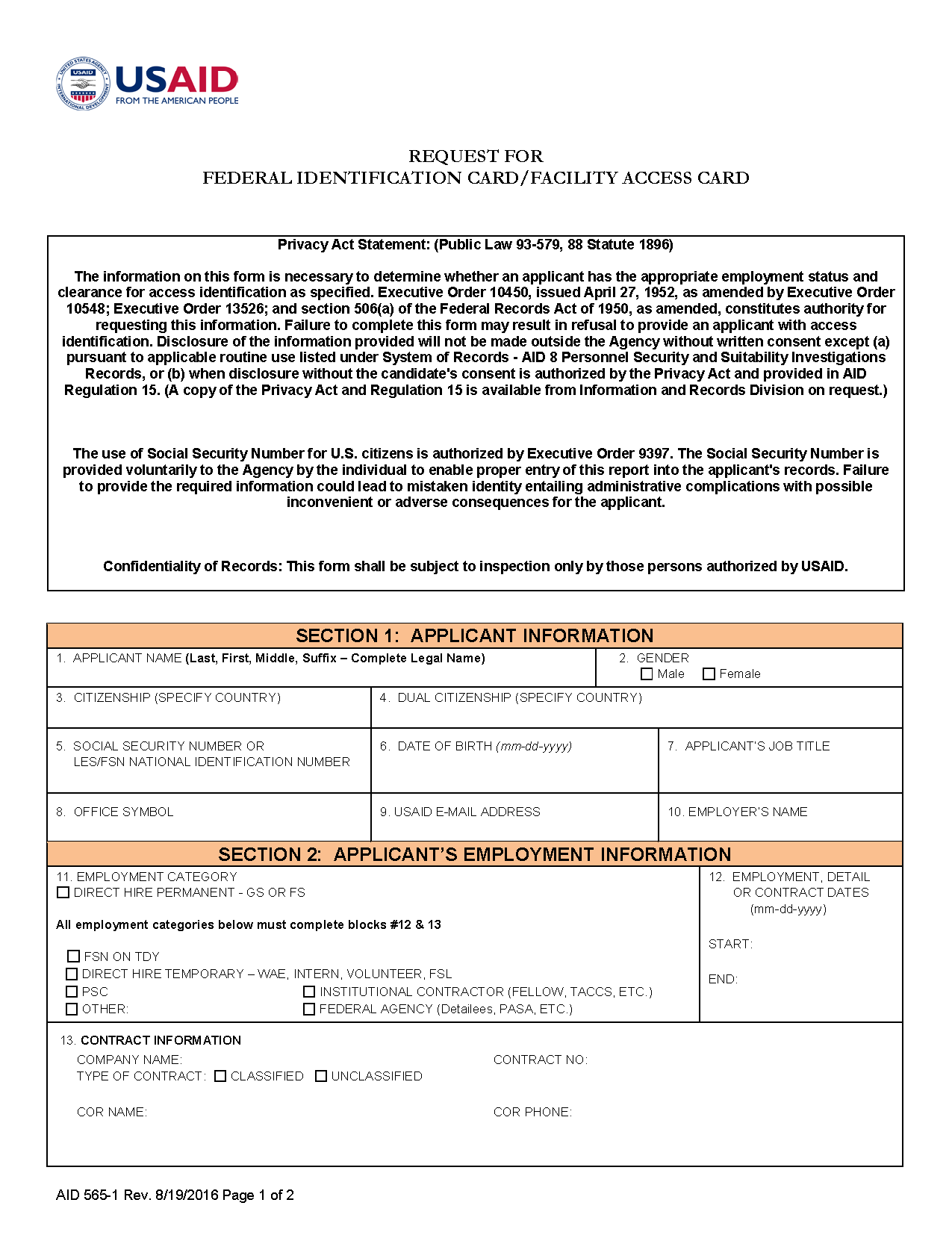 AID 565-1 (Request for Federal Identification Card / Facility Access Card)