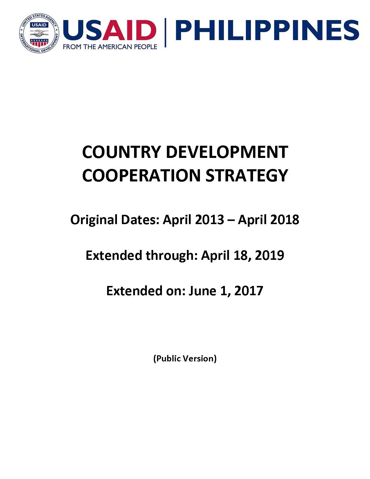 Philippines Country Development Cooperation Strategy 2013-2018