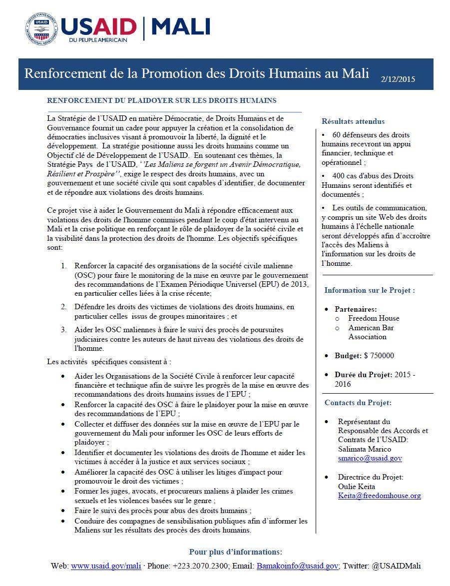 Renforcement de la promotion des  Droits Humain au Mali
