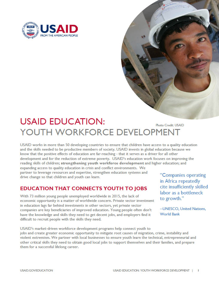 USAID Education: Youth Workforce Development Fact Sheet