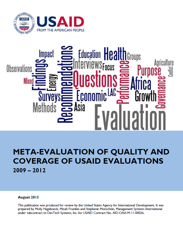 Meta-Evaluation of Quality and Coverage of USAID Evaluations
