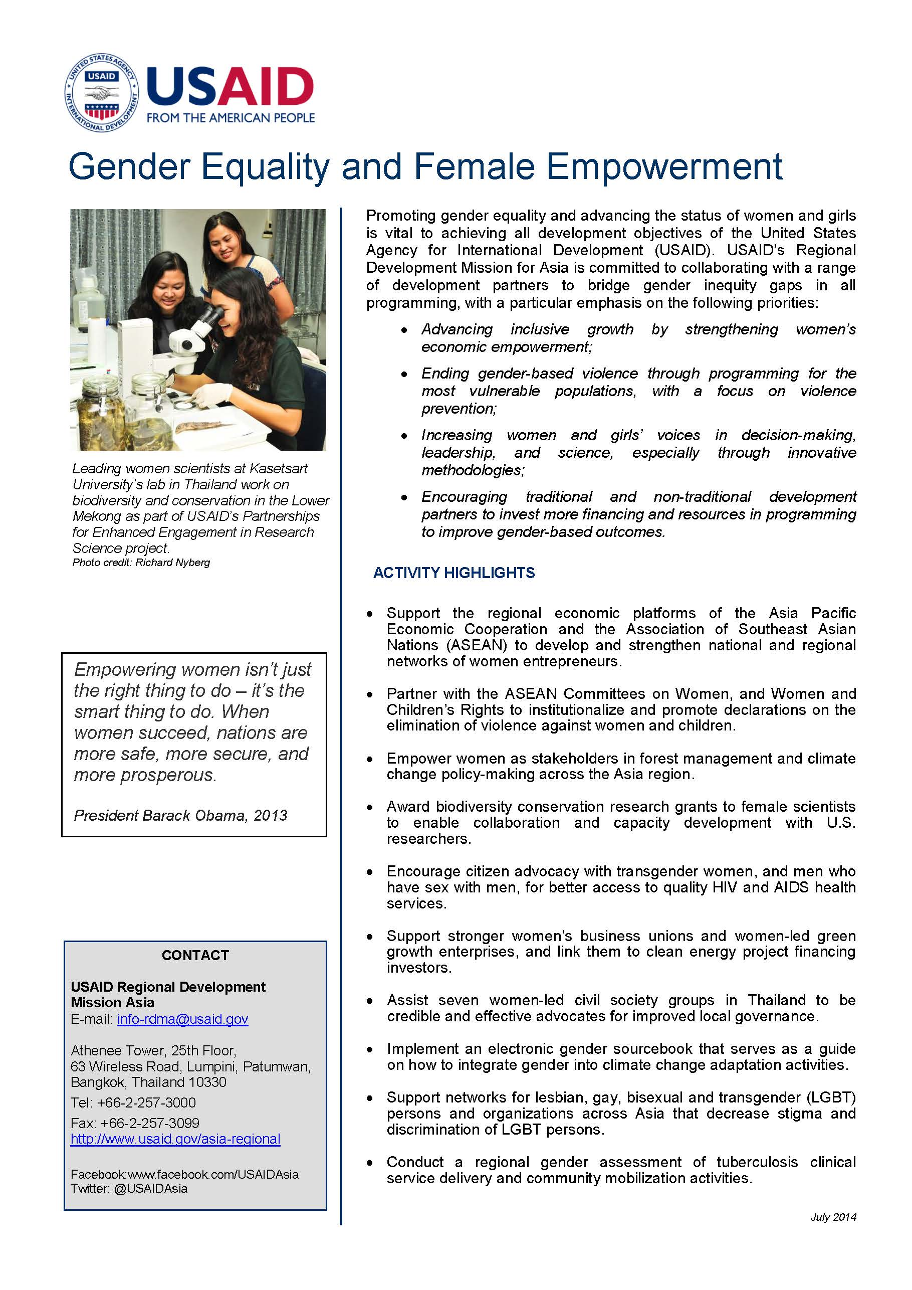 Fact Sheet - Gender Equality and Female Empowerment