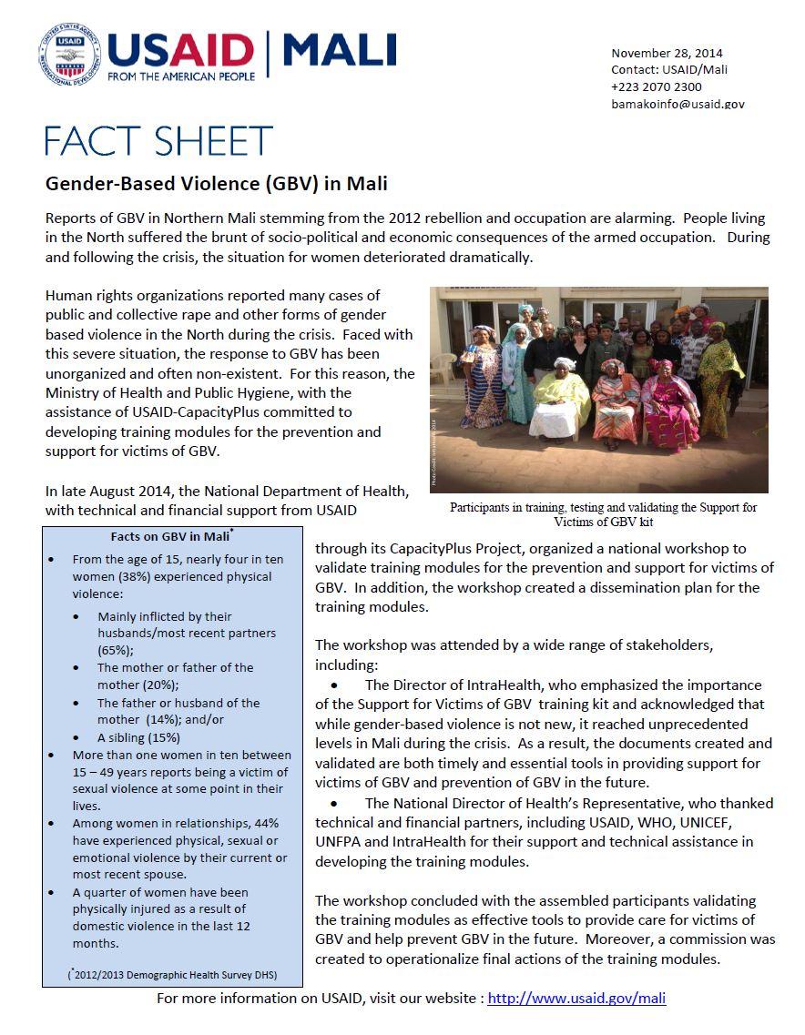 Gender-Based Violence (GBV) in Mali Factsheet
