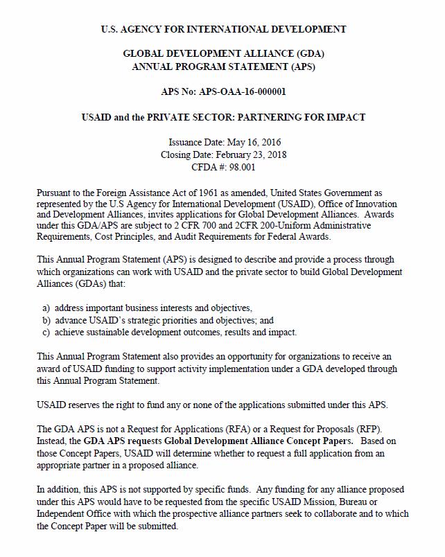 Global Development Alliance Annual Program Statement