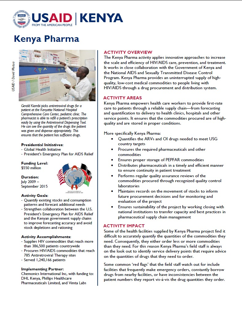 Kenya Pharma   Archive - U S  Agency for International