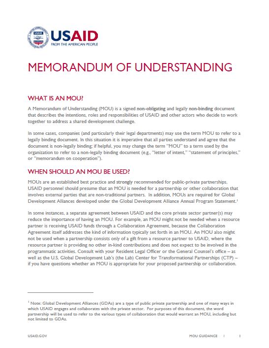 Memorandum Of Understanding Guidance Archive U S