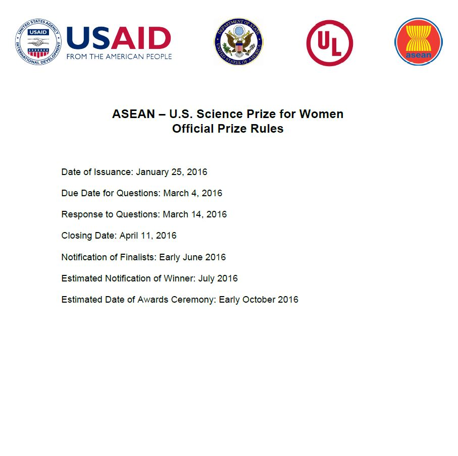 ASEAN–U.S. Science Prize for Women Official Prize Rules