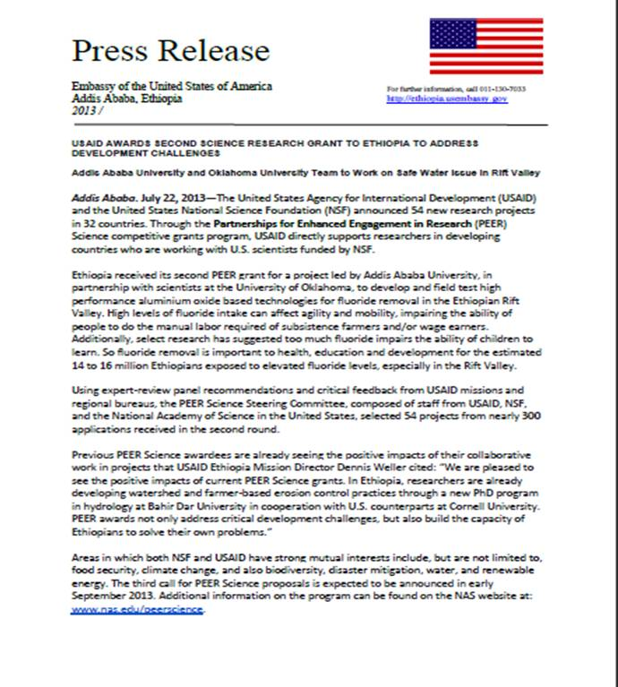 USAID Awards Second Science Research Grant to Ethiopia to