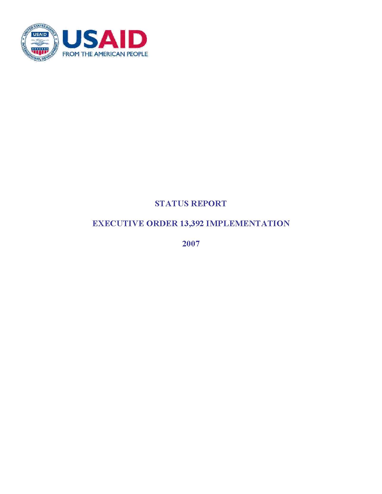 Status Report: Executive Order 13,392 Implementation - 2007