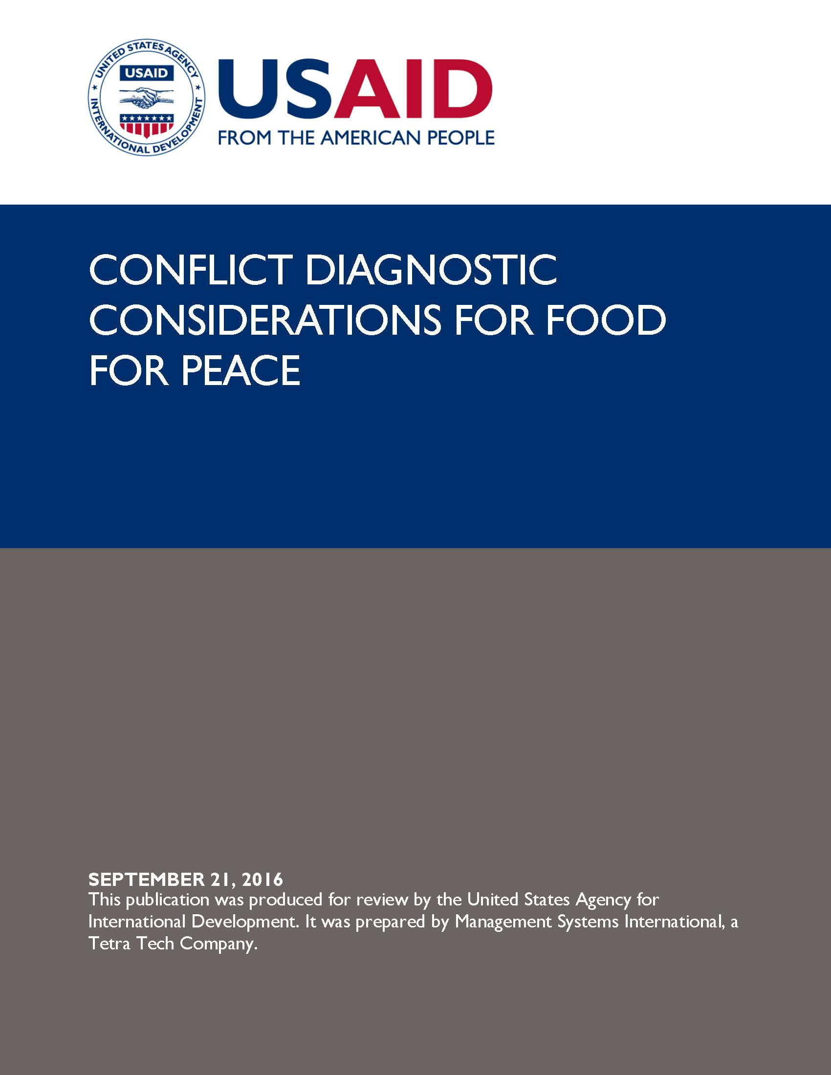Conflict Diagnostic Considerations for Food for Peace
