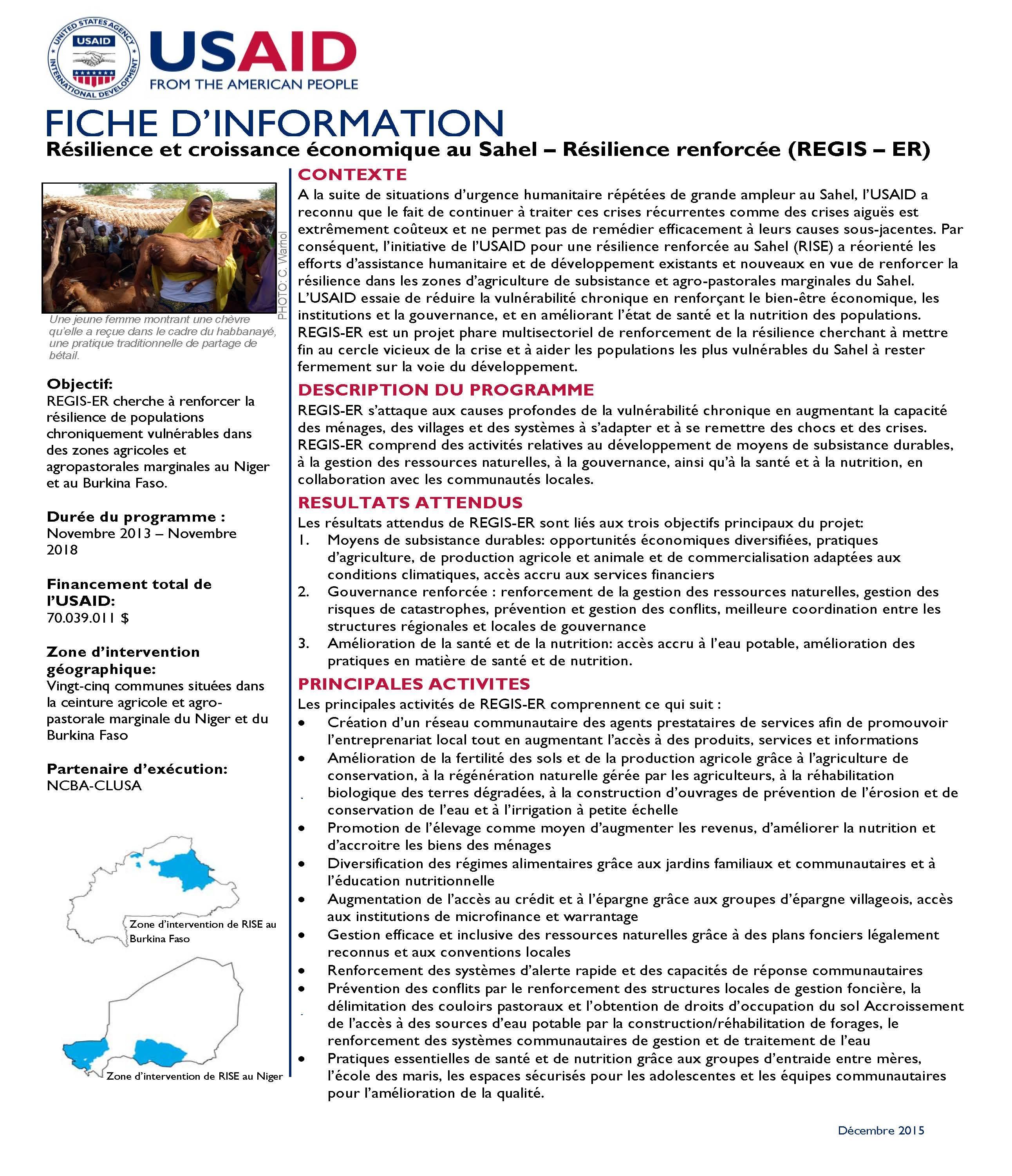 Résilience et croissance économique au Sahel – Résilience renforcée (REGIS – ER)