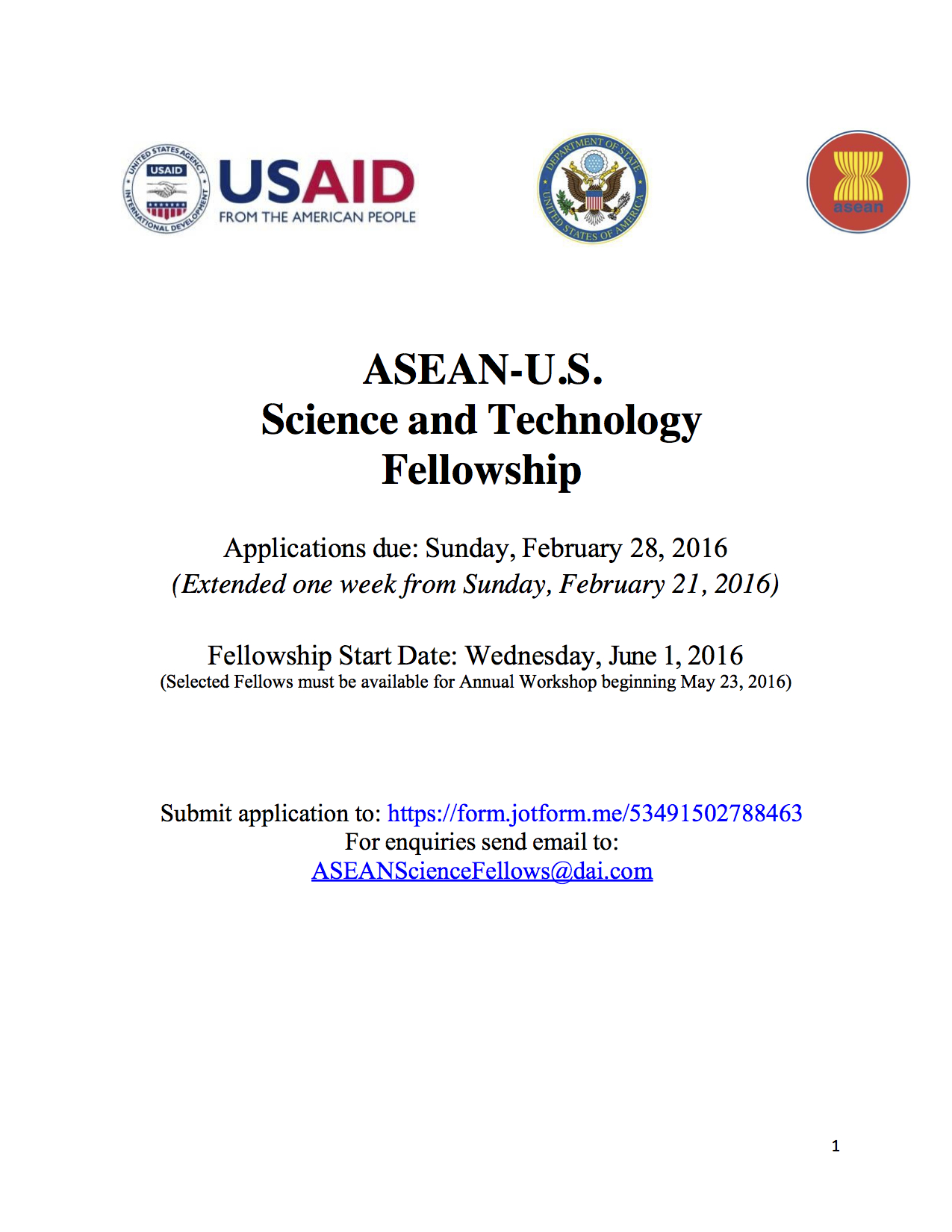 ASEAN-U.S. Science and Technology Fellowship