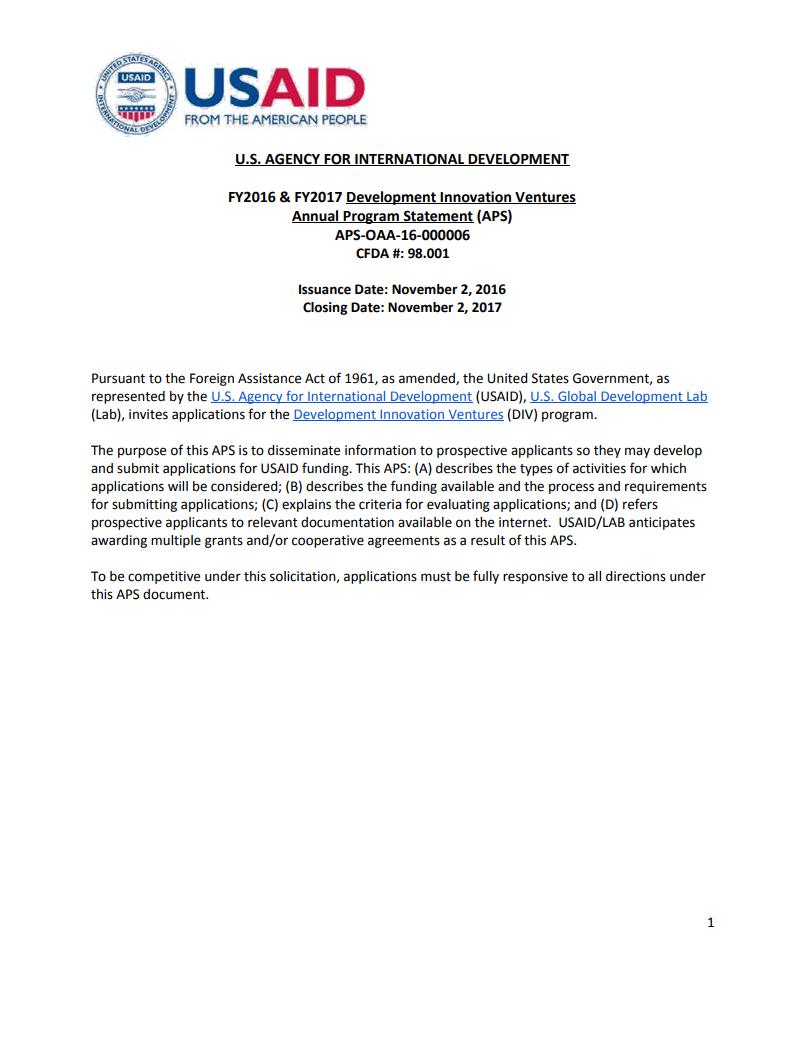 DIV Annual Program Statement (APS)