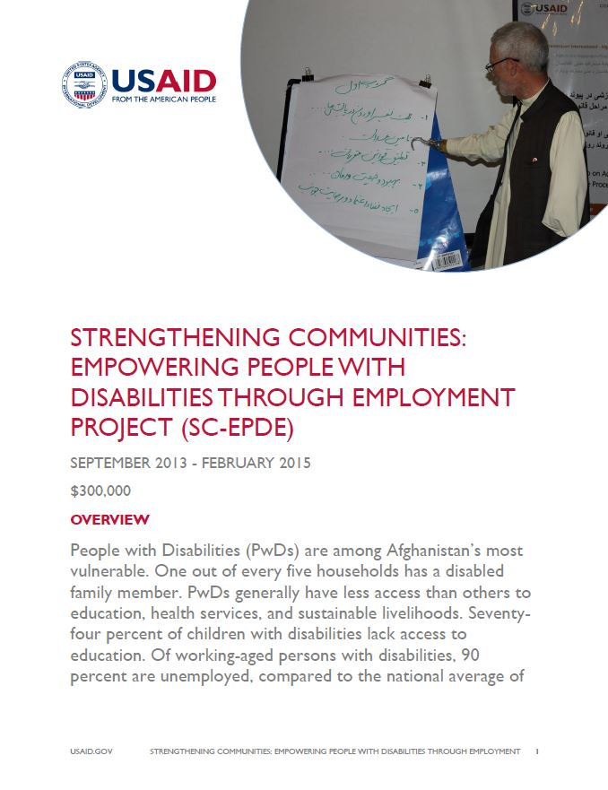 Strengthening Communities Empowering People with Disabilities through Employment Project (SC-EPDE)