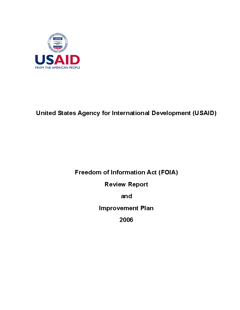 Freedom of Information Act (FOIA) Review Report and Improvement Plan 2006
