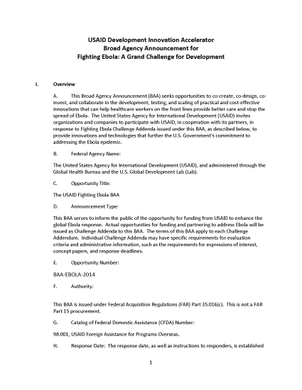 USAID Development Innovation Accelerator Broad Agency Announcement for Fighting Ebola: A Grand Challenge for Development