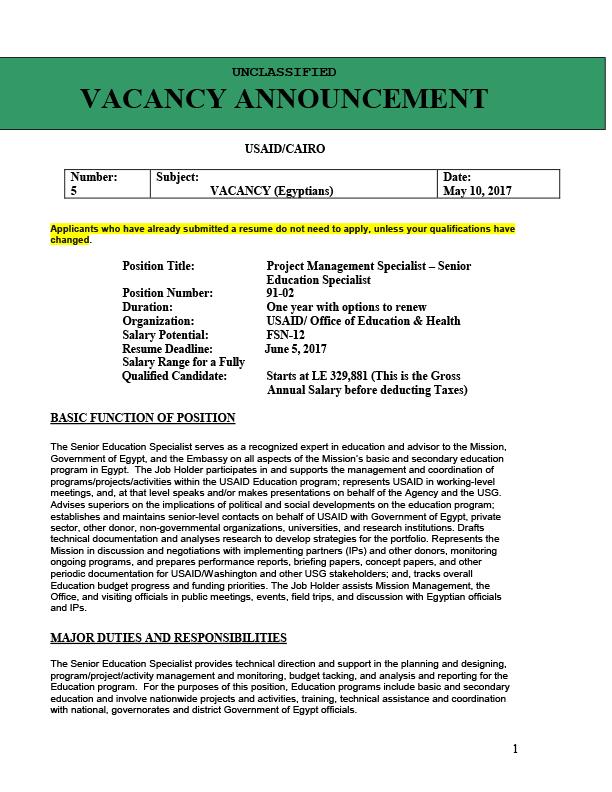 91-02: Project Management Specialist - Senior Education Specialist
