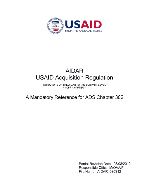 AIDAR: USAID Acquisition Regulation
