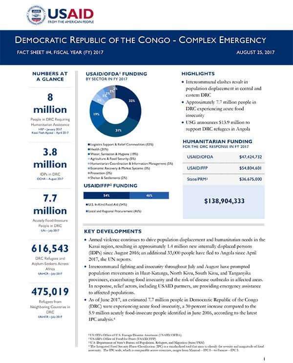 Democratic Republic of the Congo Complex Emergency Fact Sheet #4 - 08-25-2017