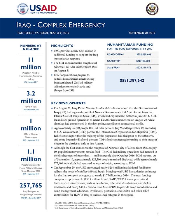 Iraq Complex Emergency Fact Sheet #7 - 09-20-2017