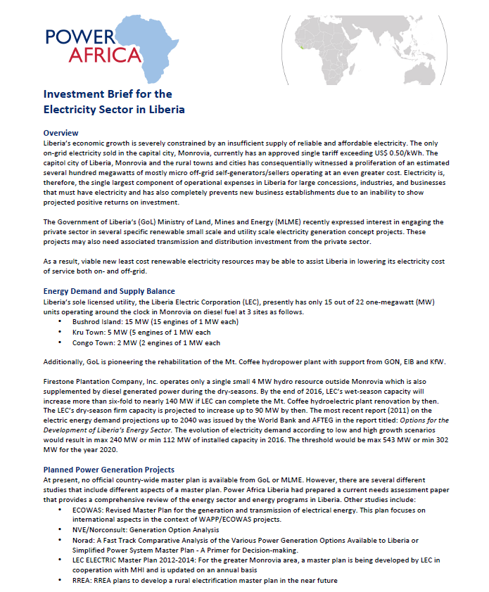 Power Africa Investment Guide: Liberia
