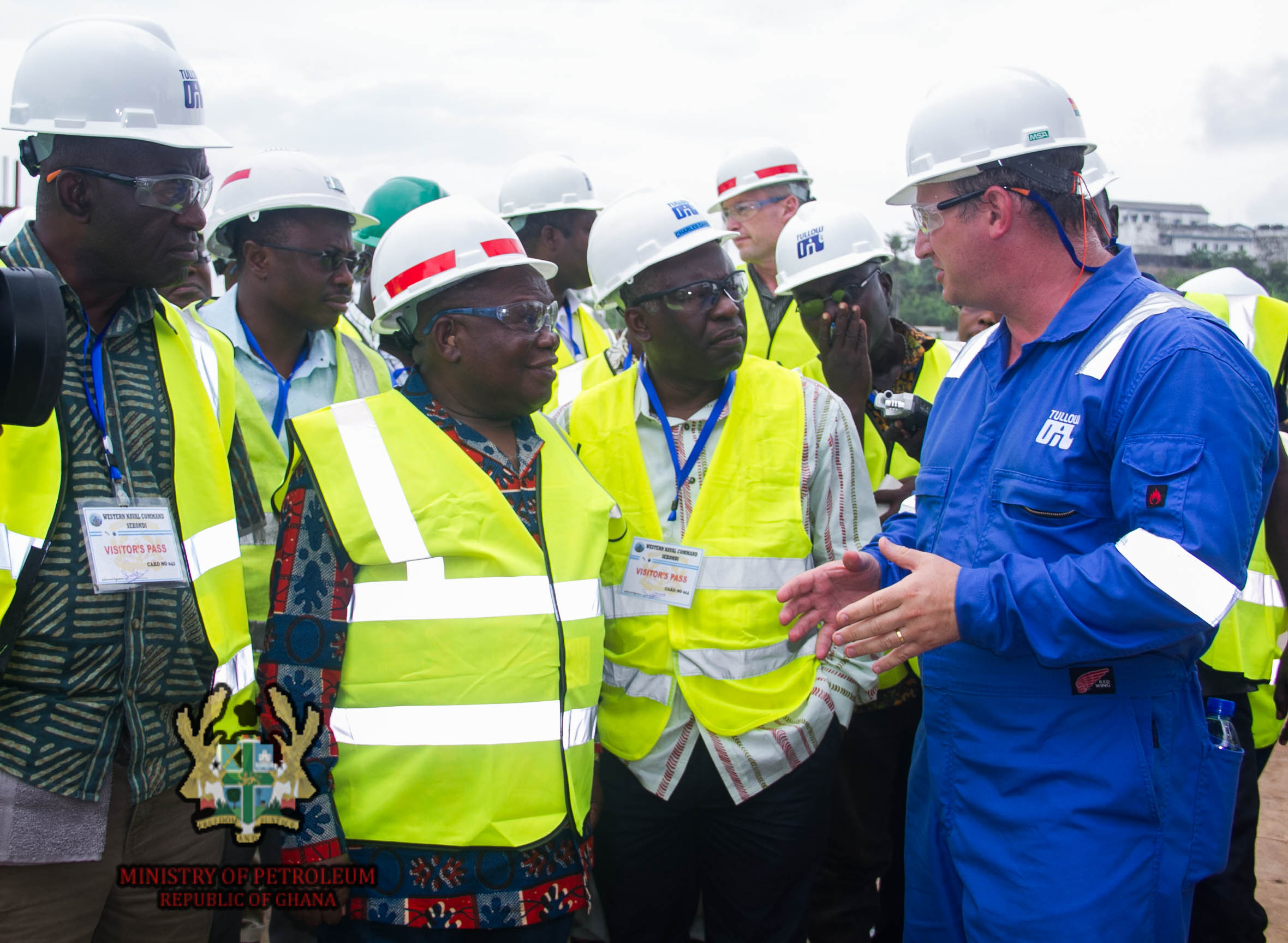 The Honorable Benjamin Dagadu (second from left), Ghana's Deputy Minister of Petroleum, visits a fabrication site in the western region of Ghana
