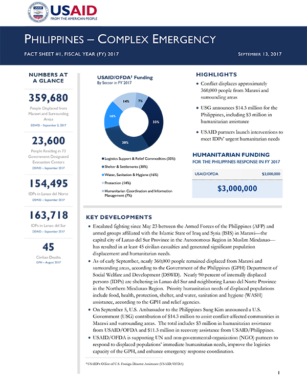 Philippines Complex Emergency Fact Sheet #1 - 09-13-2017
