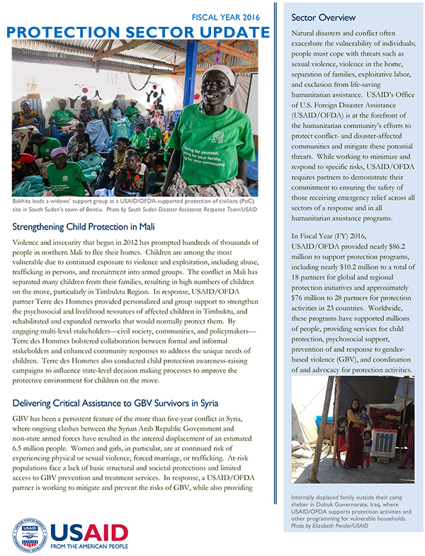 USAID/OFDA Protection Sector Update