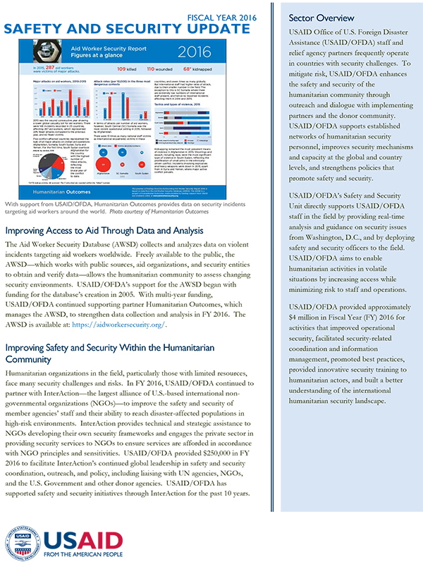 USAID/OFDA Safety and Security Sector Update