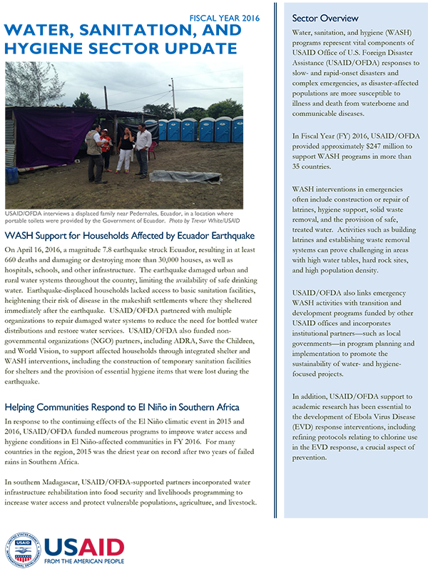 USAID/OFDA Water, Sanitation, and Hygiene Sector Update