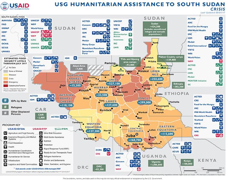South Sudan Map - 09-01-2017