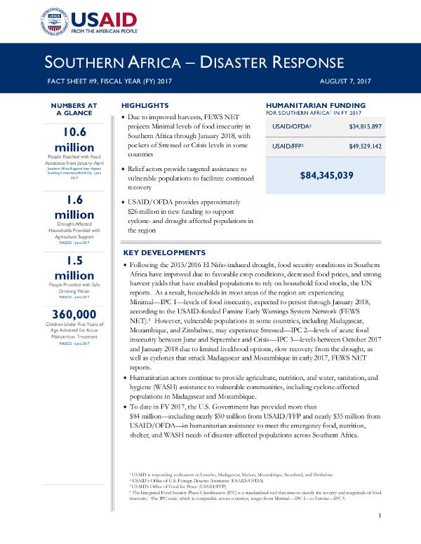 Southern Africa Disaster Response Fact Sheet #9 - 08-07-2017