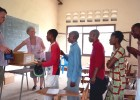 English club members line up to elect new leadership at a teacher resource center in the Democratic Republic of Congo.