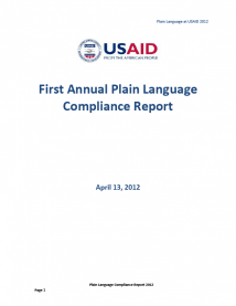 First Annual Plain Language Compliance Report - 2012
