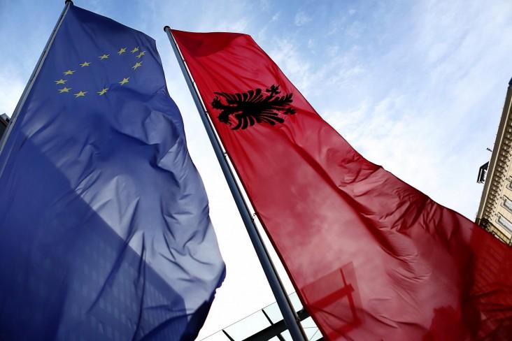 Albania and European Union flags