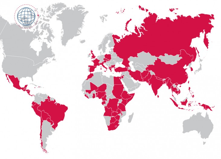 Map showing countries where USAID/ASHA has worked. For a full list see the link below