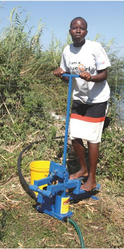 Susan Akoth Owindu at Kaswanga farm on the shores of Lake Victoria pumps water to irrigate her vegetable garden. The Value Girls