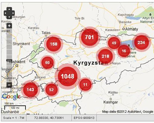 Incidents of violence related to the October 2011 Kyrgyz elections as reported by youth observers using SMS.