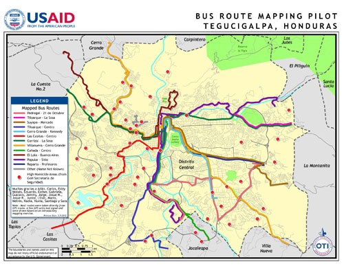 USAID partnered with a group of Honduran youth to develop a data collection plan targeting 15 bus routes, including some known f