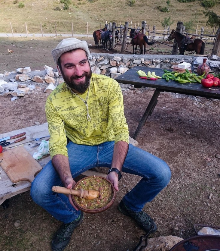 Aleksandar Donev prepares traditional pindzur, a type of relish, in the village of Galicnik.