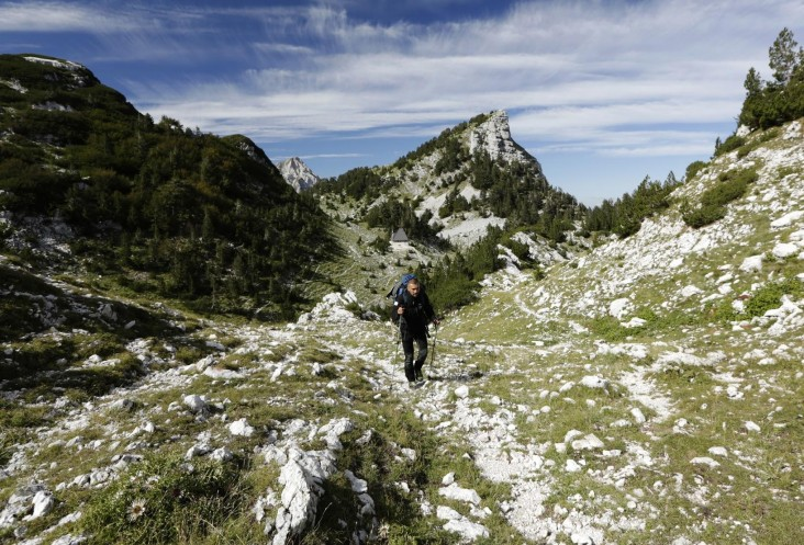 Kenan Muftic walks along the Via Dinarica on Prenj Mountain, Bosnia and Herzegovina.