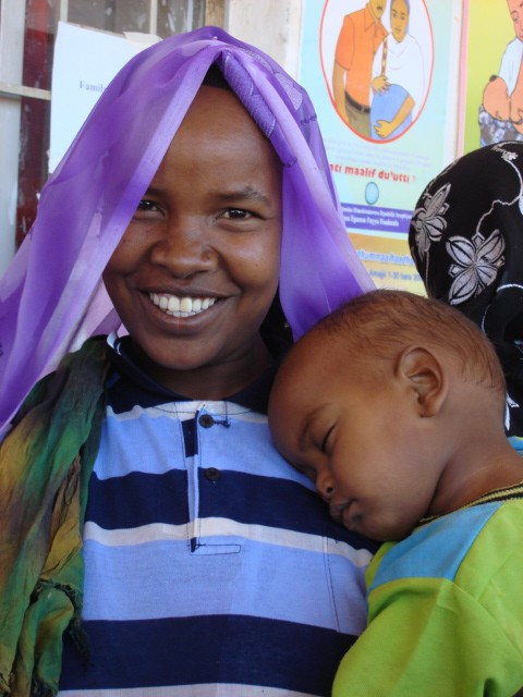 Mother and child at health post