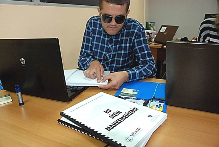 Driton Obërtinca, one of two blind law students to earn a paid internship with USAID's Effective Rule of Law Program in Kosovo