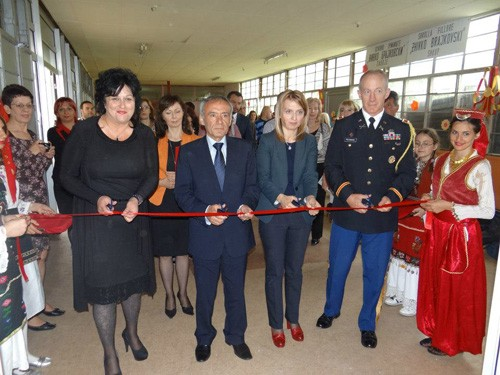 A ribbon-cutting ceremony on May 8, 2013, marks the opening of the Zivko Brajkovski Primary School in Butel, Macedonia.