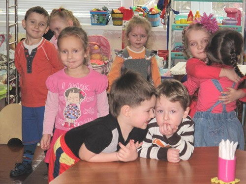 """For the 2- and 3-year-old children of """"Veselka"""" group, the morning starts with warm hellos to each other."""