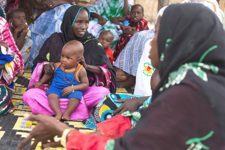 Women gather for a mother-to-mother meeting in the village of Doumga Rindiao, Senegal, September 2012.