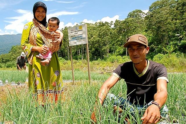 Indonesian family in farm feild